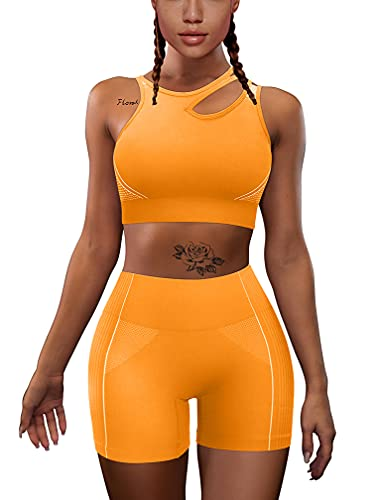 HYZ Women's Workout Yoga 2 Piece Outfits High Waist Sports Shorts Removable Padded Bra Set Orange