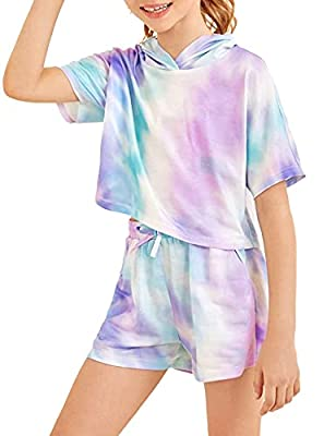 Girls Tie Dye Clothes Outfits Two Piece Lounge Set Jogger Suits Sweatsuits Tracksuits Sweatshirts Tops Hoodies Shorts Sets Size 10 from