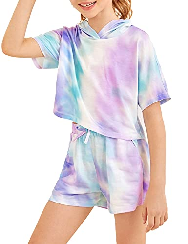 Girls Tie Dye Clothes Outfits Two Piece Lounge Set Jogger Suits Sweatsuits Tracksuits Sweatshirts Tops Hoodies Shorts Sets Size 10