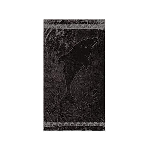 Soleil d'Ocre DRAP DE PLAGE 95x175 cm FLEUR/DAUPHIN VELOURS JACQUARD 100% COTON - Coloris aléatoire