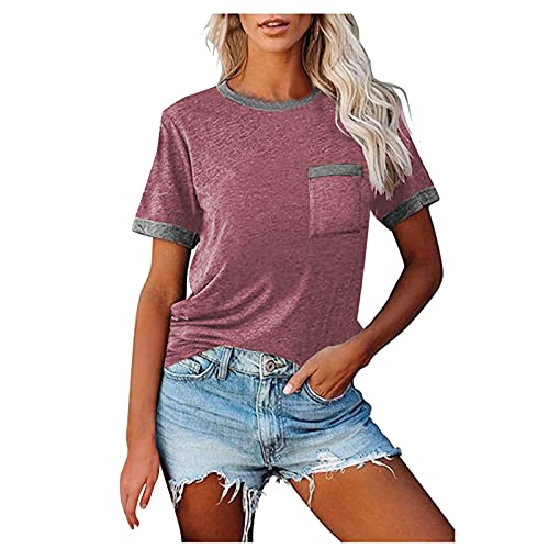 Camiseta de manga corta para mujer, elegante, de verano, con bolsillos, informal, básica, cuello redondo, para adolescentes, niñas, mujeres, deporte, para mujer Vino XXL