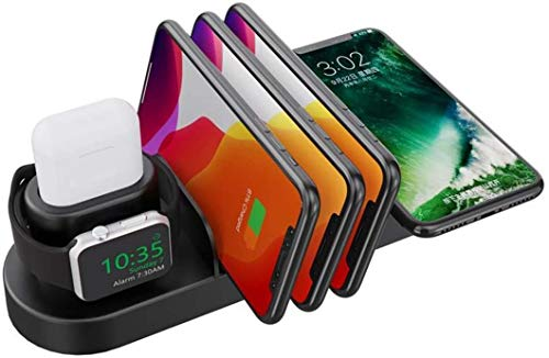 OH 3 in 1 Multifunctional Stand Wireless Fast Charge Qc3.0 10W Fit for iPhone 11 Pro Max Plus I/Airpods Compatible for Sansumg S10 Note 10 and Other Induction Charge Phone Wireless