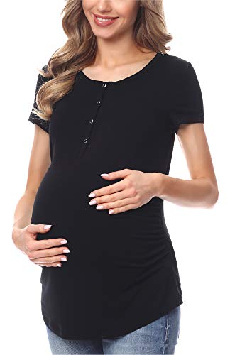 Be Mammy Camiseta Premamá Manga Corta Lactancia Ropa Verano BE20-227 (Negro, XXL)