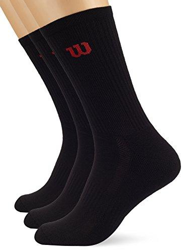 Wilson Herren Socken TENNIS PREMIUM CREW MEN 3PR BK, Black, 39-46