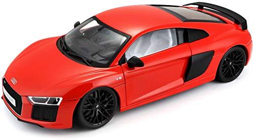 Maisto Audi R8 V10, Modellauto mit Federung, Maßstab 1:18, Türen und Motorhaube beweglich, hochwertiges Fertigmodell, lenkbar, 24 cm, rot (538135-1)