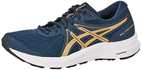 ASICS Women's Gel-Contend 7 (Extra Wide) Running Shoe, 8.5, French Blue/Champagne