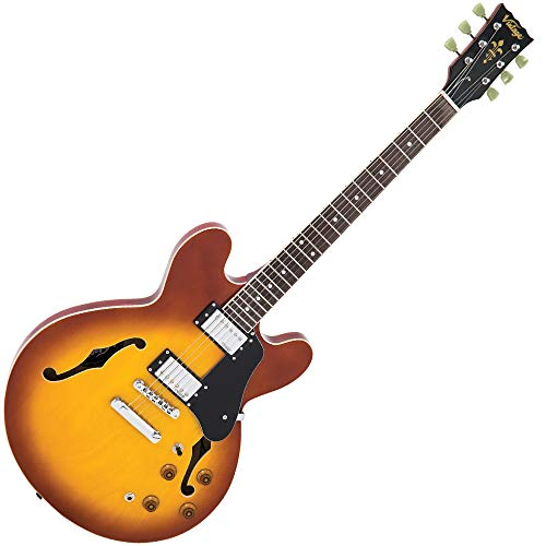 VSA500HB Vintage Halbakustische Gitarre, Honey Burst
