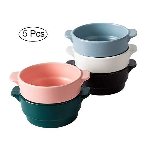 AWYGHJ Cuencos de Sopa de Cebolla Francesa de Porcelana, Cuencos Crocks de 12 oz con diseño clásico y Elegante, Aptos para microondas y Horno, para Sopa, estofado, frío, Juego de 5