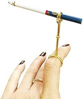 La La Pet Lady Retro Smoking Ring Holder Small Hand Shelf Cigarette Holder Pipe(Golden,S)