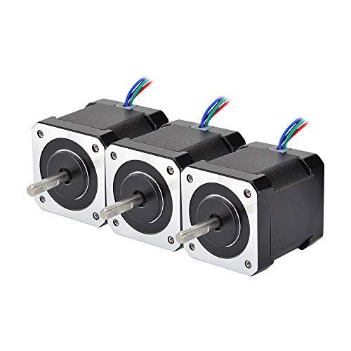STEPPERONLINE 3 Stücke Nema 17 Schrittmotor Bipolar 59Ncm (84oz.in) 2A 42x48mm 4Drähte w/ 1m Kabel & Verbinder für 3D DRUCKER/DIY CNC
