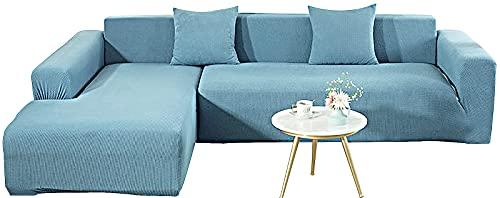 KIKIGO Sofa üBerwüRfe L Form,Sofa Elastische Stretch Sofabezug Sofa üBerzug,Blue_l_Style-3+4_Seater