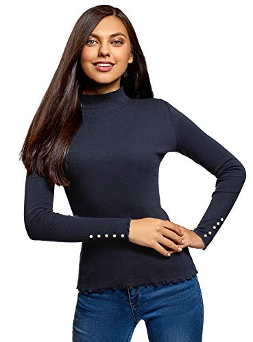 oodji Ultra Donna Maglione a Lupetto Basic in Cotone, Blu, XS