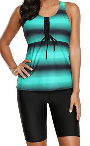 Ocean Plus Damen Zweiteilig X-Back Tankini Set mit Schwarz Hotpants mit Langer Badeshorts Farbverlauf Gestreift Bademode Shorts mit Bügeln (XXL (EU 48-50), Grün Hose)