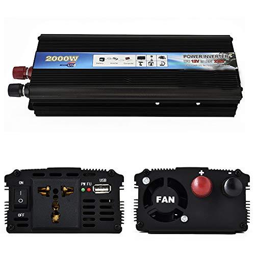 CWWHY Wechselrichter 2000W, Spannungswandler DC 12V auf AC 230V, KFZ Inverter mit EU-Steckdose und 1 USB Anschlüsse, für Auto, Wohnwagen, Boot, Camping, Reisen,24220V