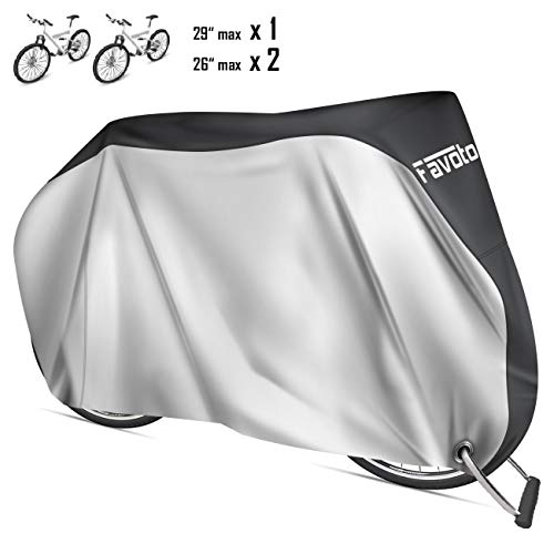 Favoto Funda para Bicicleta Exterior, 210D Oxford Cubierta Protector Impermeable al Aire Libre contra Lluvia/UV/Polvo/Nieve con Orificio de Bloqueo para Montaña Carretera, 200x70x110cm Negro+Plata