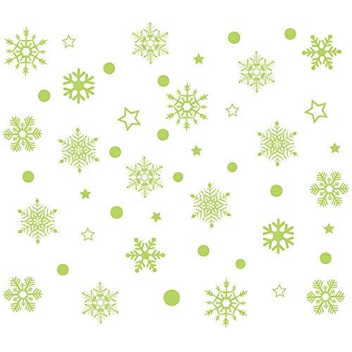 LMMVP Autocollant de Mur de Noël, Flocon de Neige de Noël Lumineux Amovible Fenêtre Murale Autocollants Décalques d'art Accueil Boutique (Vert, 25.5cm*28.5cm)