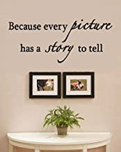 Because Every Picture has a Story to Tell Vinyl Wall Decals Quotes Sayings Words Art Decor Lettering Vinyl Wall Art Inspirational Uplifting
