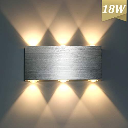 Lightess 18W LED wandlamp binnen modern up down wandlamp gemaakt van aluminium voor woonkamer slaapkamer trap hal, warm wit