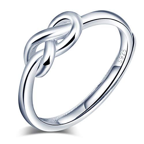 Yumilok Anillo de plata de ley 925 para mujer, anillo abierto con símbolo de infinito, nudo de amor, tamaño ajustable, regalo de cumpleaños de Navidad, tamaño: 49-57