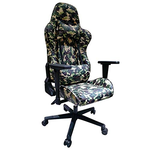 Ergonomics with lumbar support Gaming Chair Ergonomic Desk Chair with Lumbar Support Headrest Armrest Footrest for Adults For home and work (Color : Green)