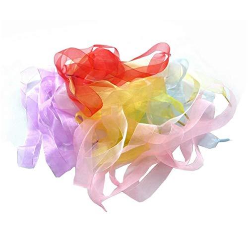 ISKYBOB 14 Paires 2.5cm Extra Large Dégradé de Couleur Organza Lacets Plats Translucides pour Femmes Filles Baskets - 47.24In Long
