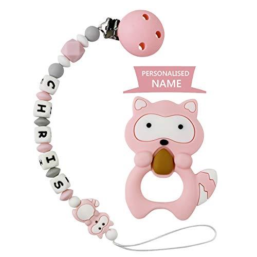 MCGMITT Schnullerkette mit Namen Mädchen Schnuller Clip Silikon Perlen Beißring Zahnen BPA Frei für Babys (Pink mit Beißring)