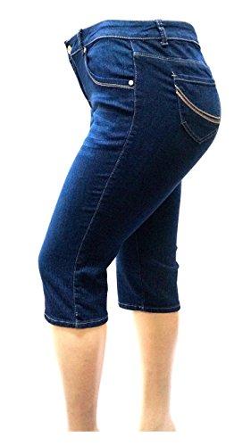 1826 Jeans David-K Women's Plus Size Stretch Premium Blue Denim Jeans Capri Pants