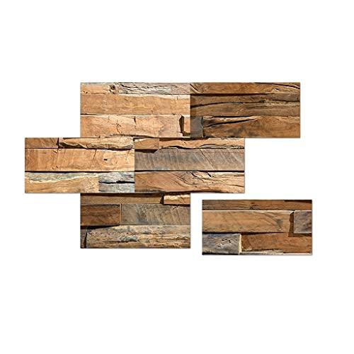 Paneles de pared 3D Pegatinas de escalera 3D Etiquetas de baldosas impermeables Grano de madera  Arte  Papel pintado Ladrillo autoadhesivo Papel pintado Decoración de pared extraíble para baño Dormi