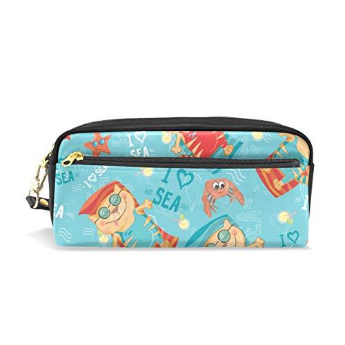 Emoya - Estuche para lápices, diseño de gato tropical, para la playa, la estrella, el cangrejo, los estudiantes, papelería, bolsa de cosméticos con cremallera