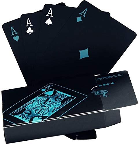 Schwarze wasserdichte Spielkarte - Plastik Pokerkarte - Spielkarten für Familien Kartenspiel Party - Spiel für Tischspiele