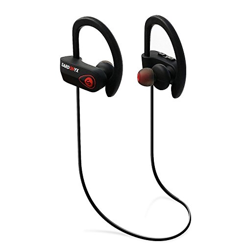 Sardonyx SX-918 Wireless Headphones, Best Bluetooth Earphones Noise Cancelling Sport IPX7 Waterproof HD Stereo Headset w/Mic, Secure-Fit Sweatproof Earbuds for Gym Running Workout Exercise