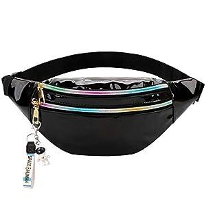 Fanspack Riñonera PVC Impermeable Cintura Brillante Bolsa Portátil Cintura láser Riñonera Moda Casual Tackle Ajustable…