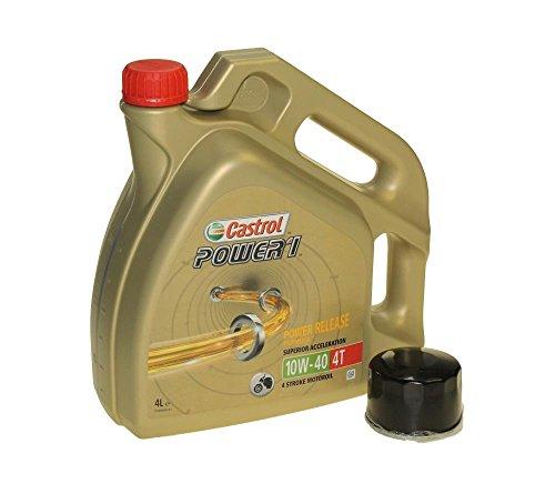 Öl Wechselset 4 Liter Castrol SAE 10W-40 Power 1 4T inkl. Ölfilter Citomerx CIT147 für Yamaha XP 500, XVS 1300, Kymco 500