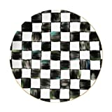 WYGOAKG Plato de cena de porcelana de hueso de 12 pulgadas plato redondo bandeja de postre plato conjunto negro y blanco tablero de ajedrez de cerámica placa de Navidad