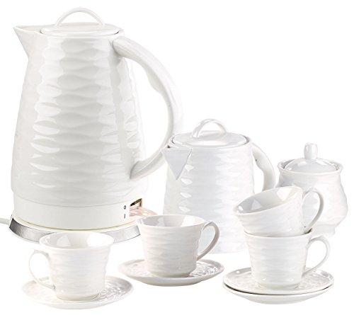 Rosenstein & Söhne Schnurloser Wasserkocher: Porzell-Wasserkocher WSK-270.rtr, 1,7 l, 1500W mit Kaffee-/Tee-Service (Elektro-Wasserkocher für 5-Uhr-Tee)