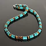 Native American inspired Bohemian Southwestern tribal surfer turquoise garnet and tigers eye beaded handmade mens choker necklace with clasp