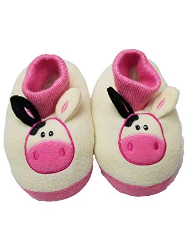 Toddler Girls White Cow Slippers Loafer House Shoes Animal Slippers Medium 7/8