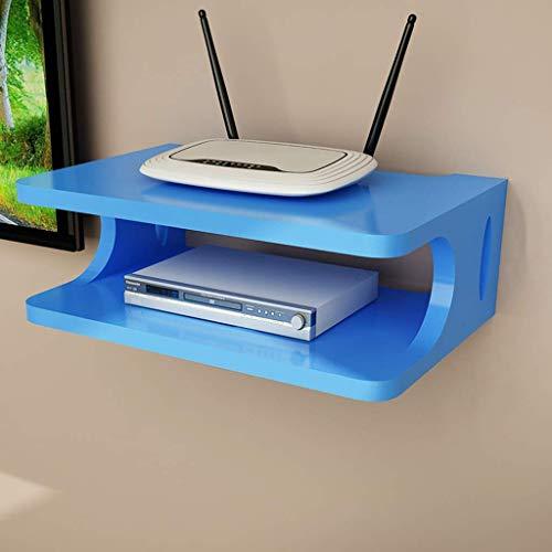 IG Muebles Monte en la Pared Soporte para el Soporte para Wifi Router Tv Caja de Tv Conjunto Top Caja de Módems Cajas de Cable Dvd Reproductores Streaming Media Dispositivos Estantes,Azul