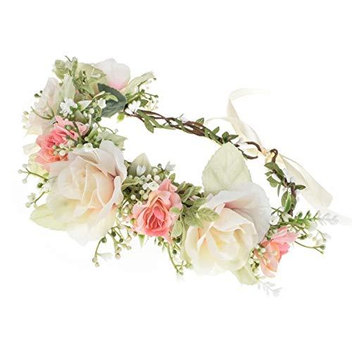 Vividsun Adjustable Flower Crown Floral Headpiece Floral Crown Wedding Festivals Photo Props (E-pink white)
