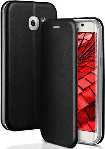 ONEFLOW Handyhülle kompatibel mit Samsung Galaxy S6 Edge - Hülle klappbar, Handytasche mit Kartenfach, Flip Case Call Funktion, Klapphülle in Leder Optik, Schwarz