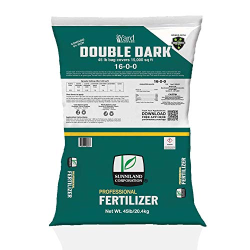 16-0-0 Double Dark Granular Lawn Fertilizer (with 6% Iron) and Bio-Nite to Green Up Your Lawn Without Pushing Too Much Growth - Better Than Ironite - Covers 15,000 Square Feet - Apply Year Round