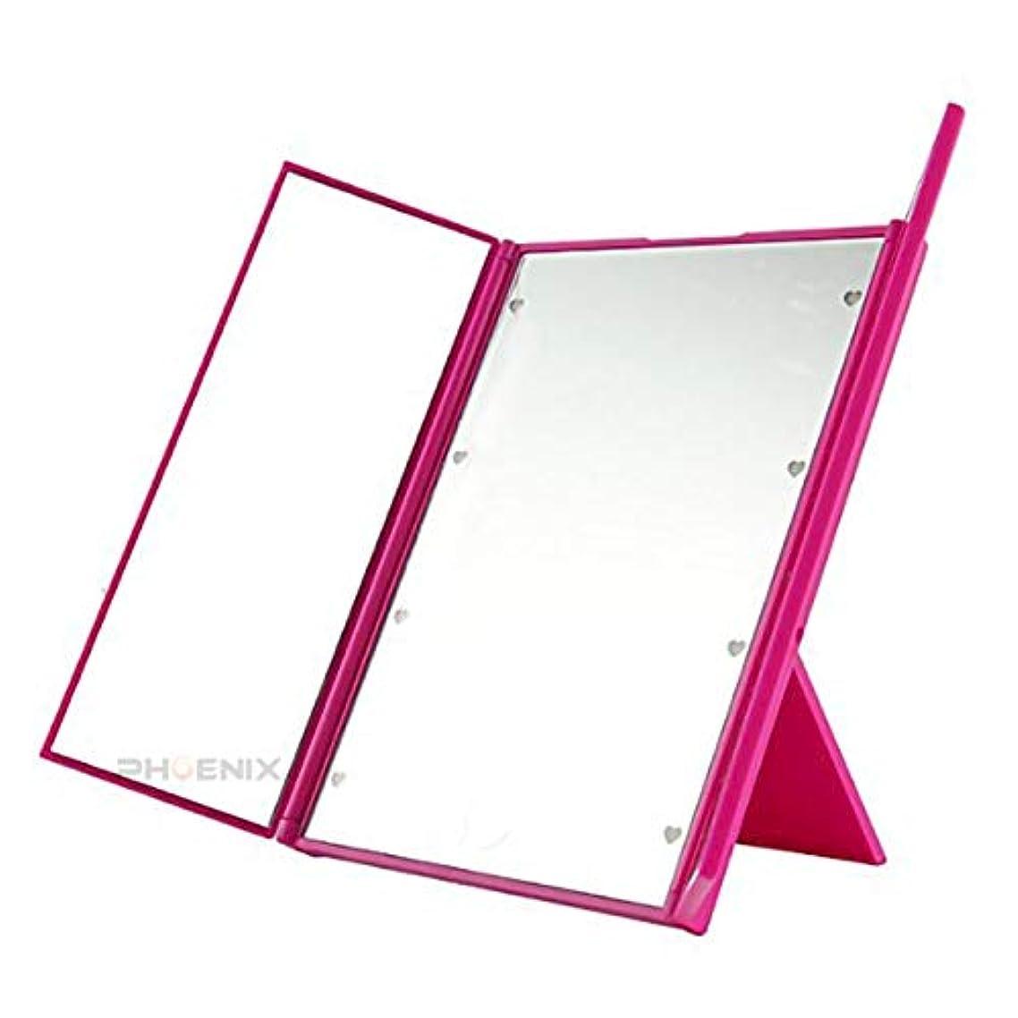 複雑振動させる誓約5893 hp ~ 鏡 卓上ミラー ライト付き led 折りたたみ かわいい 女優ミラー 三面鏡 持ち運び 角度調節 3カラー 三面鏡,ピンク