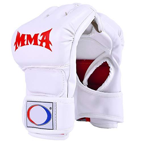 OUYA Guantes de MMA, Guantes UFC para Hombres y Mujeres, Guantes de Kickboxing sin Dedos, Guantes de Boxeo para Saco de Boxeo, Sparring, Muay Thai - 22 * 11 * 2,5 cm,Blanco