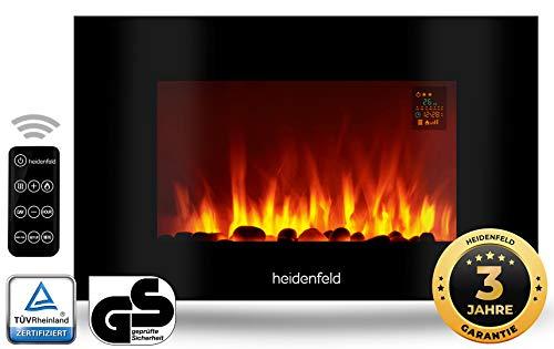 Heidenfeld Wandkamin Elektrisch HF-WK100 mit Fernbedienung - 3 Jahre Garantie - 1000 oder 2000 Watt - Flammensimulation - Heizthermostat - Kaminofen Elektrokamin Kaminfeuer (WK100C Flach Steinoptik)