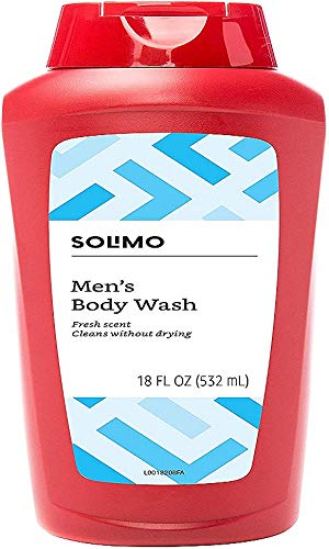 Amazon Brand - Solimo Men's Body Wash, Fresh Scent, 18 Fluid Ounce (Pack of 6)