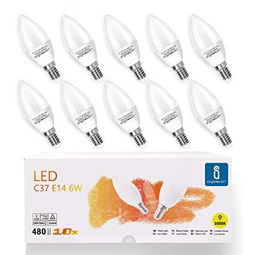 Aigostar - Bombilla LED C37, forma de vela, E14 casquillo fino, 6W equivalente a 40W, 480 lúmenes, CRI> 80. No regulable. Pack 10 uds.