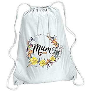 Mum - Mother's Day Any Name Any Text Custom - Floral Wreath Thirteen Gym Bag - White:Whiteox