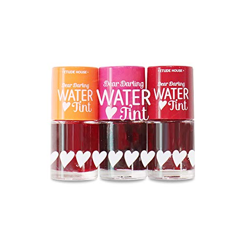 ETUDE HOUSE Dear Darling Water Tint 3 Color set: Strawberry Ade + Cherry Ade + Orange Ade | Bright Vivid Color Lip Tint with Moisturizing Pomegranate & Grapefruit Extract to Hydrate your Lips