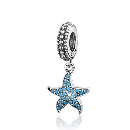 DOYIS Abalorios de Estrella de mar Plata de Ley 925 Mar Criatura océano Charms Compatible con Pulseras Europeas Pandora