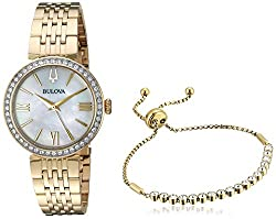 Gold-Tone SS Bracelet Watch & Gold-Tone Bezel-Set Tennis Bracelet (98X122)